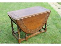 Antique Collapsible Dining Room Table, Dark Brown