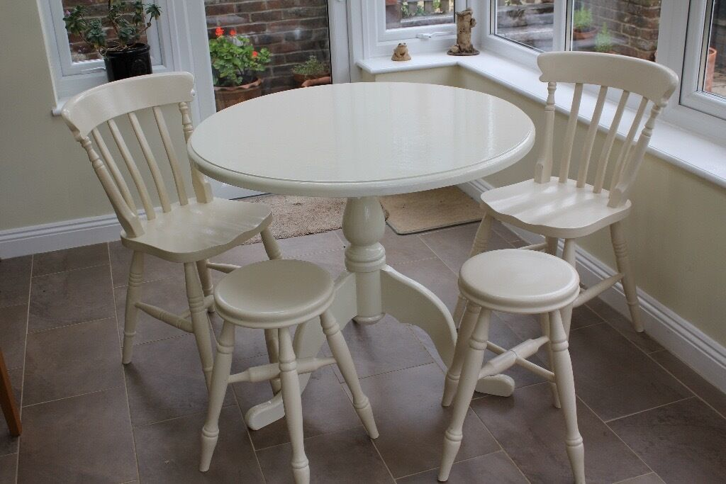table 2 chairs. painted round pine table 2 chairs stools