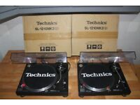 Technics SL-1210 Mk2 Pair Excellent Condition Ortofon OM Pro Carts Original Lids and Boxes