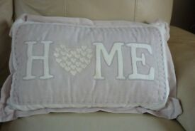 'Home' Cushion with heart detail and contrast stitching - vgc - £8