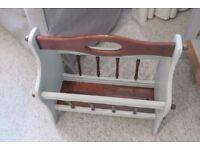 Up cycled shabby chic grey and mahogany magazine/newspaper rack