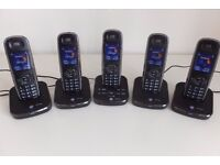 Set of FIVE (5) BT Cordless Home Phones with Digital Ansaphone [Excellent Condition]