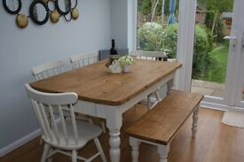 STUNNING, SHABBY CHIC ,PINE, DINING TABLE & 4 CHAIRS & FARMHOUSE BENCH -F & B Paint