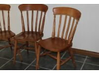 2 Pine Carver chairs and 6 pine chairs