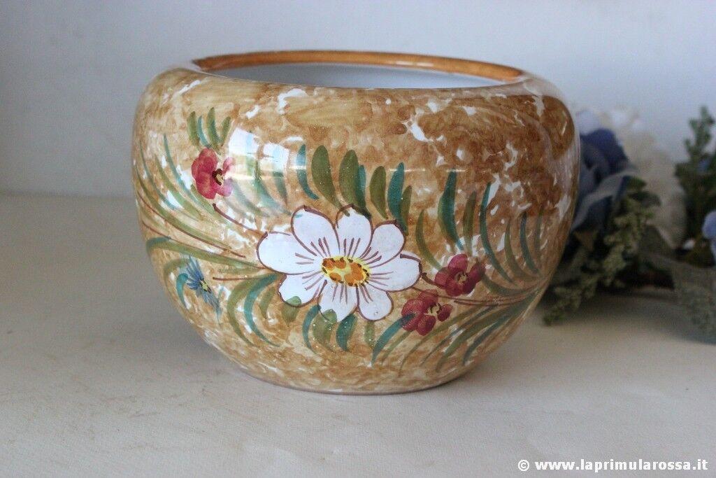Cachepot vintage in ceramica decorata vaso italian deruta