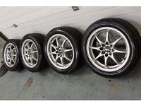 "Multi-Fit 4x100 4x108 15"" alloy wheel + new 195/50/15 tyres! Vauxhall Fiat Ford Honda Toyota MG VW"