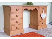 DELIVERY OPTIONS - QUALITY 8 DRAWERS SOLID PINE DRESSING TABLE WAXED FINISH