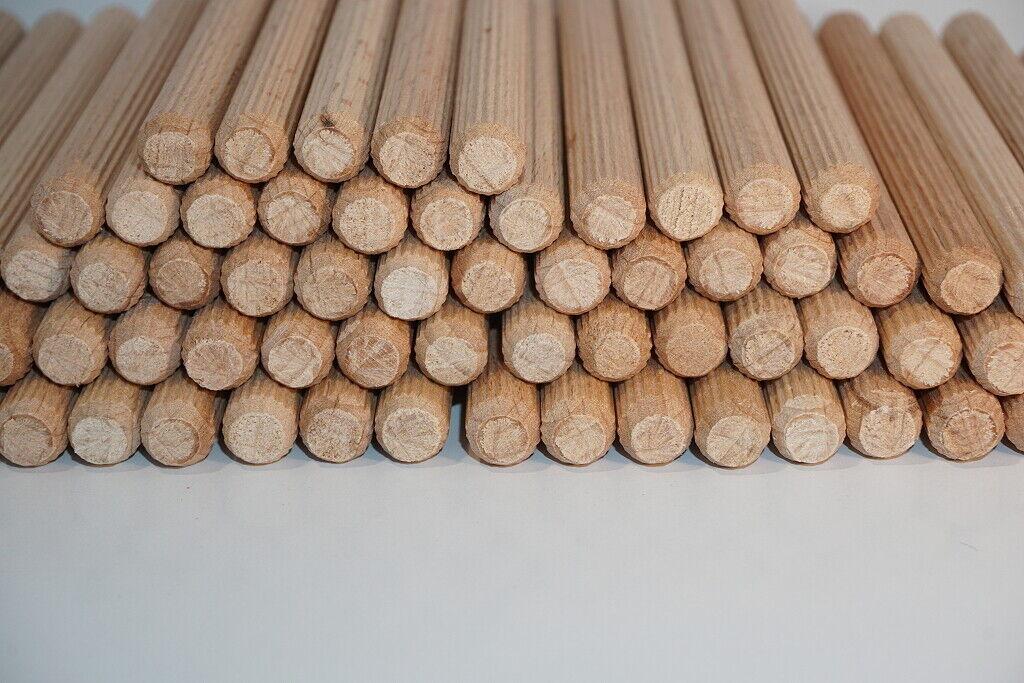Holzdübel 8x40 / 8x80 / 8x100 mm, geriffelt, Buche, Bastel Holzstäbe