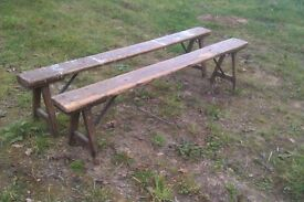Pair of old wooden kitchen benches rustic antique seating