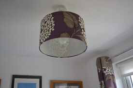 NEXT eye hook lined curtains and matching lamp shade. excellent condition.