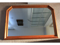 Large wall hanging mirror in solid pine frame