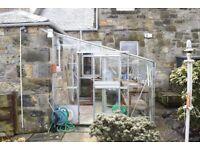 Aluz Aluminium Lean to Greenhouse Kirkcaldy + shelving & lighting/electrics £300 ono