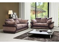 🔥🔥SUPERB BLACK GREY OR BROWN💗💗New Double Padded Dino Jumbo Cord Corner Or 3+2 Sofa L/R HAND SIDE