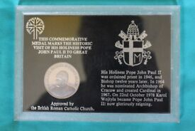 Pope John Paul II commemorative medal for his visit to GB