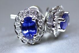 New 18 White Gold 1.20ct Natural Blue Sapphire and 0.40ct Diamond Earrings