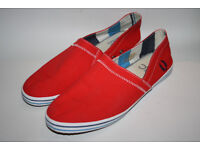 Fred Perry Men's Unisex Fashionable Canvas Espadrilles Red Slip On Shoes UK 9