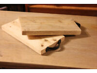 Rustic Pine Chopping Boards With Gothic Cast Iron Handle