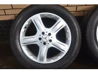 MERCEDES ML 19 INCH SPORT ALLOYS AND TYRES REMOVED FROM A 20017 MERCEDES ML