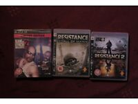 ps3 playstation game bundles, resistance 1 and 2, kane & lynch 2 - mint condition