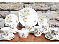 Stunning Vintage 20 Piece Arklow Pottery Bird of Paradise Tea Set Irish Ireland Tea Coffee Service