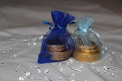 10 Royal Blau & Hellblau Organza Beutel Hochzeit Tischdekoration 7cm X 9cm ()