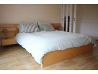 IKEA Malm birch bed frame.