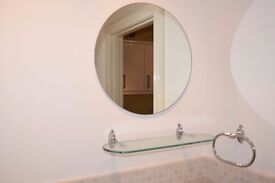 Bathroom mirror, Round, with matching glass curved shelf, 20in Dia, Shelf 21in x 6in.