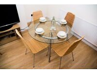 IKEA SALMI Glass/Chrome-Plated Dining Table Set