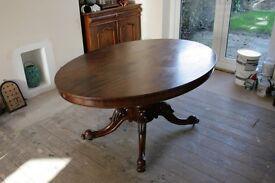 Victorian Mahogany Tilt and Tip Oval Breakfast/Dining Room Table