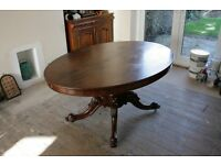 Victorian Mahogany Tilt and Tip Oval Breakfast/Dining Room Table