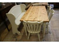 Shabby chic pine table four chairs and bench