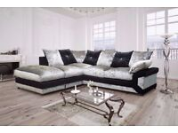 SAME DAY FAST DELIVERY-- BRAND NEW DINO CRUSHED VELVET CORNER SOFA AVAILABLE CORNER AND 3+2 SUITE