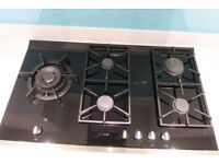 NEFF top of the range 900mm 5 Burner black glass gas hob, excellent condition, . S