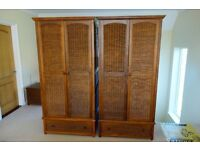 2 wardrobes, 2 bedside tables, chest of drawers, blanket box & chair, John Lewis, dark wood & wicker