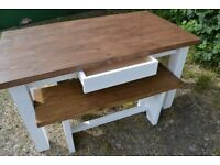 Beautiful brand new handmade table with 2 benches