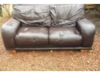 FREE! - Brown leather 2 seater sofa