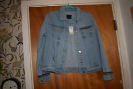 NEXT denim jacket size 14 button front & side pockets fab embroidery on the back