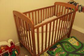Kiddicare antique pine cot&CotMattressCompany mattress