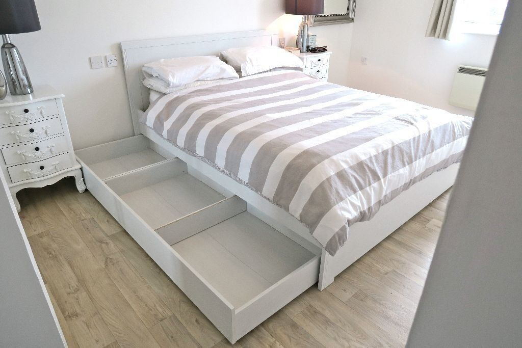 Ikea Brusali King Size Bed Frame With Added Leirsund Slatted