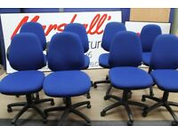 Joblot of 10x office chairs swivel task operator adjustable seat in fabric blue