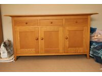 Two Pieces of Marks & Spencers Natural Oak Low Sheen Lacquered Furniture in Perfect Condition.