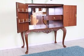 1950 s FRENCH STYLE DRINKS CABINET WITH WORKING LIGHT & GLASS TOP - CAN COURIER