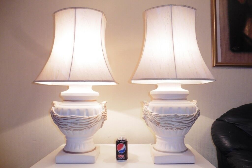 Huge Pair Of Vintage Ginger Jar Table Lamps With Shades