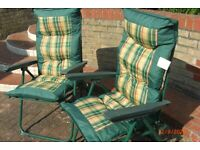 TWO Garden Padded Chairs & Matching Lounger