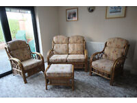 Conservatory - Cane 3 piece suite and stool