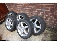 5 Alloy Wheels with Tyres (originally off Ford Escort)