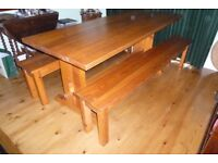 6' Solid Pine Refectory Table & Benches