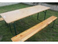 French/German Vintage Beer trestle table and Benches