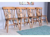 DELIVERY OPTIONS - SET OF 4 SOLID BEECH FARMHOUSE FIDDLE BACK CHAIRS WAXED