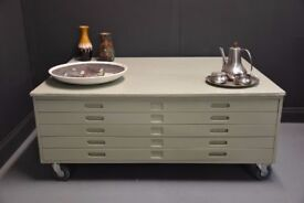 Very Large Architects Drawers Coffee Table on Wheels....delivery possible